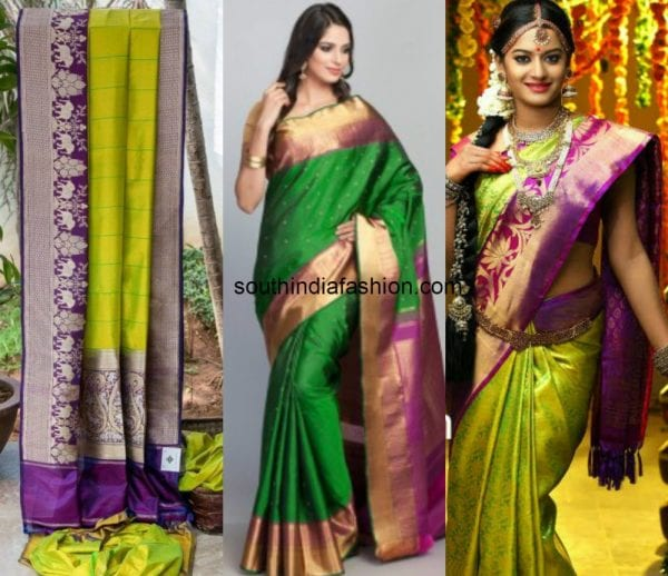 green_with_purple_kanjeevaram_saree