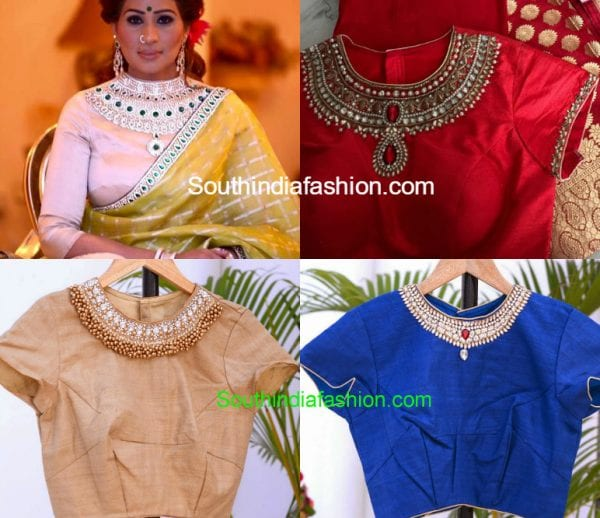jewel neckline saree blouse 600x518
