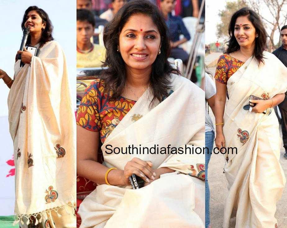 Jhansi In A White Saree And Kalamkari Blouse South India