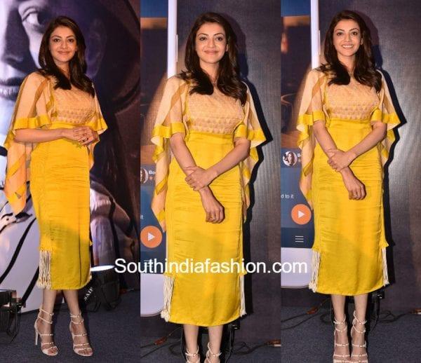 kajal aggarwal yellow dress mobile app launch 600x518