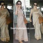 kangana ranaut fab india saree airport 150x150