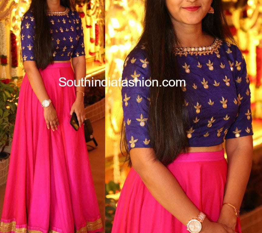 Http Www Southindiafashion Com 2017 03 Long Skirt Mirror Embroidered Crop Top Html