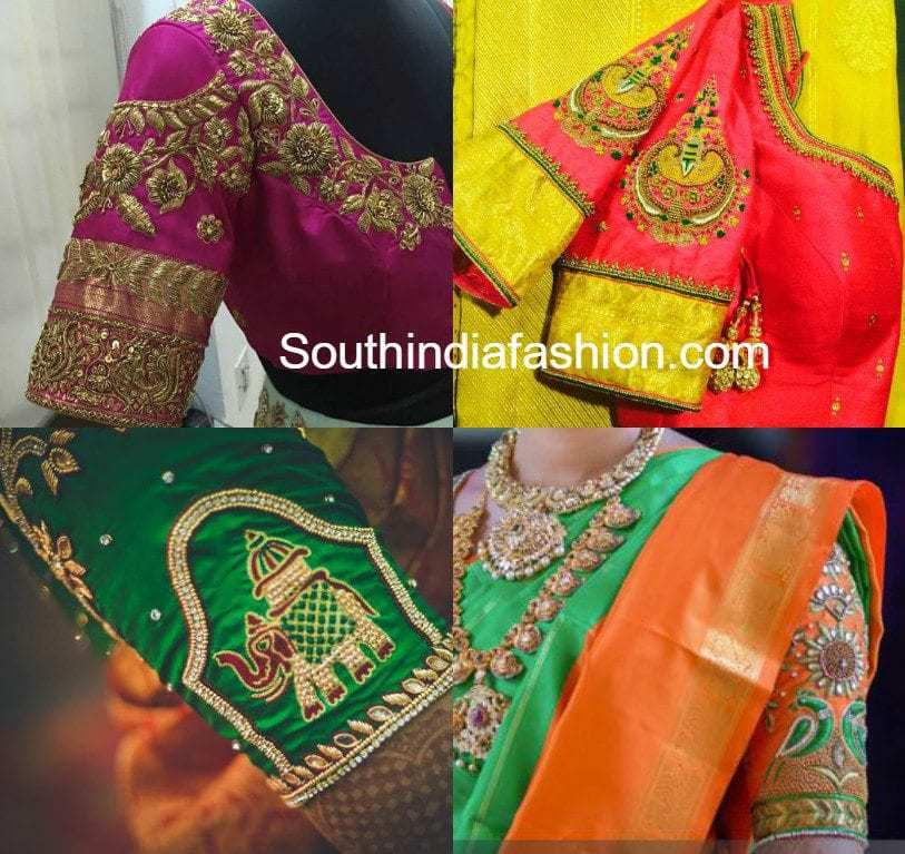 Hand Embroidered Wedding Saree Blouse Designs  South