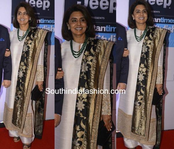 neetu kapoor sabyasachi salwar ht stylish awards 2017 600x514