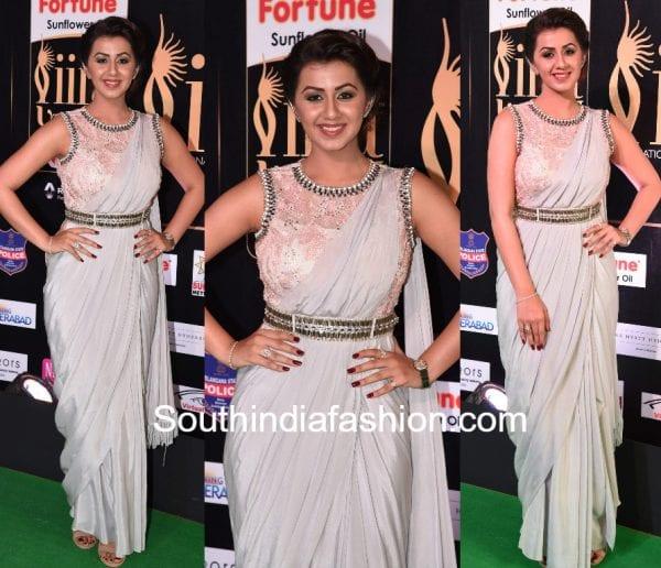 nikki-galrani-saree-gown-iifa-utsavam-awards-2017