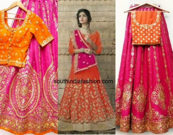 orange_pink_contrast_lehengas