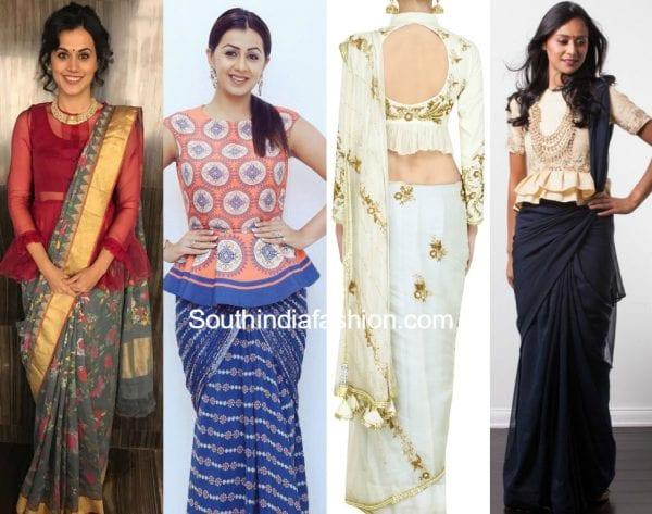 peplum blouse with sarees 600x473