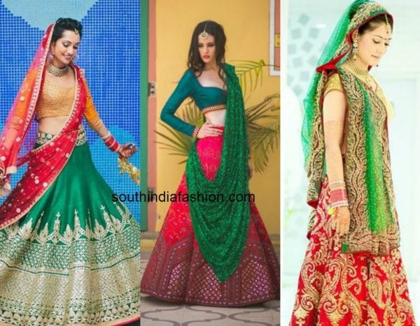 red_green_contrast_lehengas