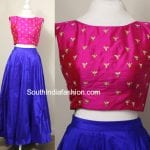 Royal Blue Long Skirt with Pink Crop Top