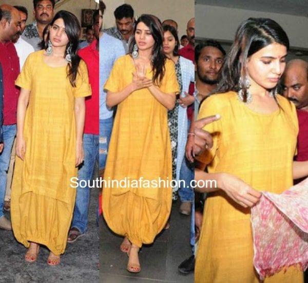 samantha-prabhu-yellow-dress-Gundala handloom weavers industry in Jangaon District