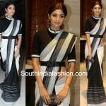 shilpa shetty black and white saree belt 150x150