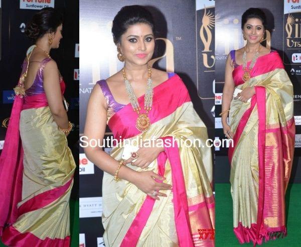 sneha-prasanna-gold-kanjeevaram-saree-iifa-utsavam-awards-2017