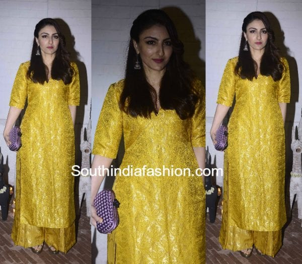soha-ali-khan-yellow-raw-mango-palazzo-suit