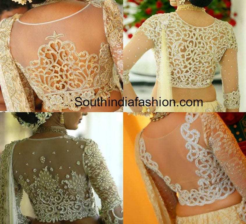 Sheer Back Cut Work Bridal Saree Blouse Designs –South ...