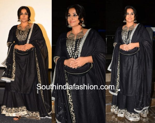 vidya balan in anjali jani black dress at begum jaan trailer launch 600x475