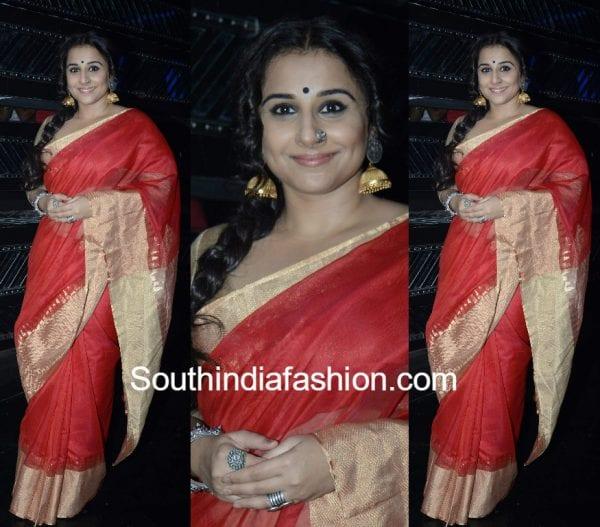 vidya balan red silk saree 600x527