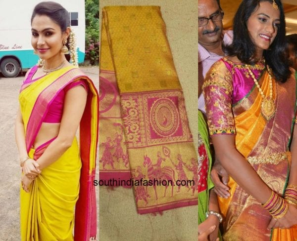 spreading sunshine your way  must have yellow kanjeevaram sarees