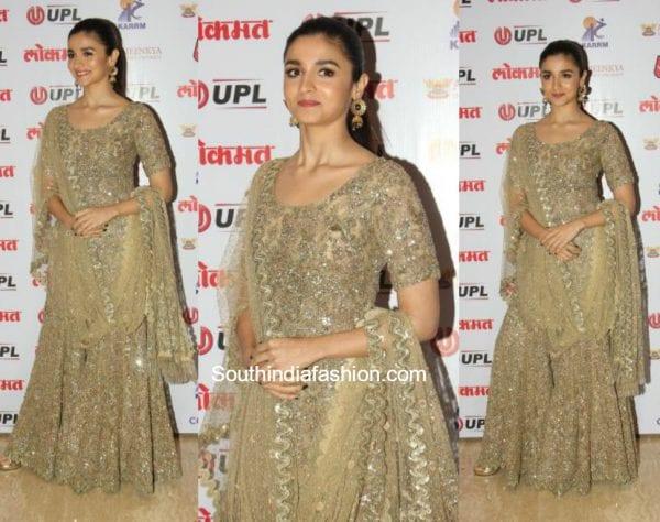 Alia Bhatt in a sharara outfit at Lokmat Awards 600x474