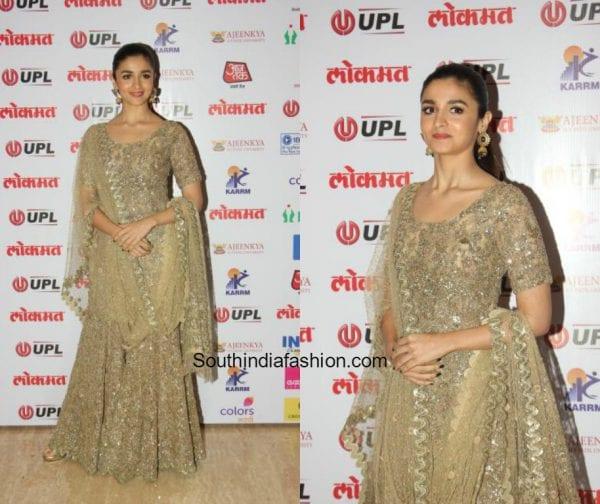 Alia Bhatt in a sharara outfit at Lokmat Awards1 600x504