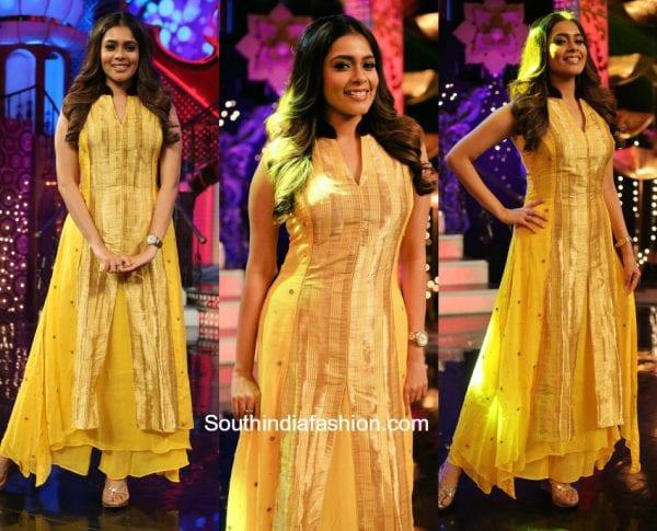 Anchor Kiki Vijay in a yellow palazzo outfit at Junior Senior TV Show 600x485