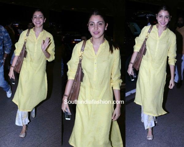 Anushka Sharma in a Kurta Palazzo at the airport 600x481