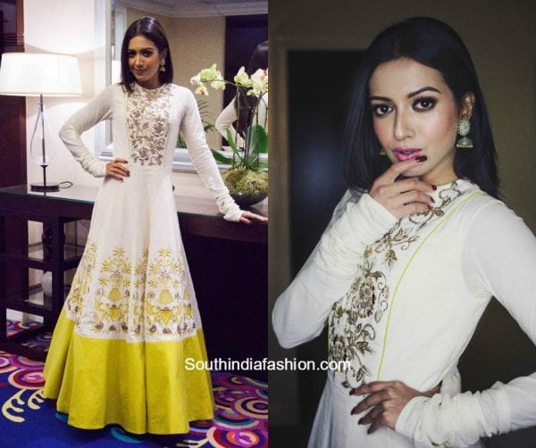 Catherine Teresa in Divya Reddy outfit for the premier of her upcoming movie 1