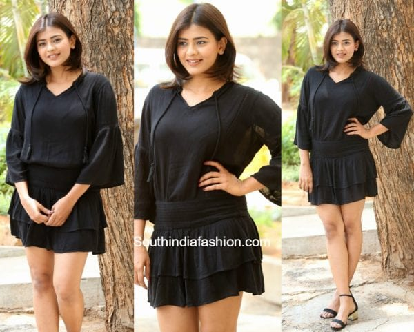 Hebah Patel in a black outfit 600x481