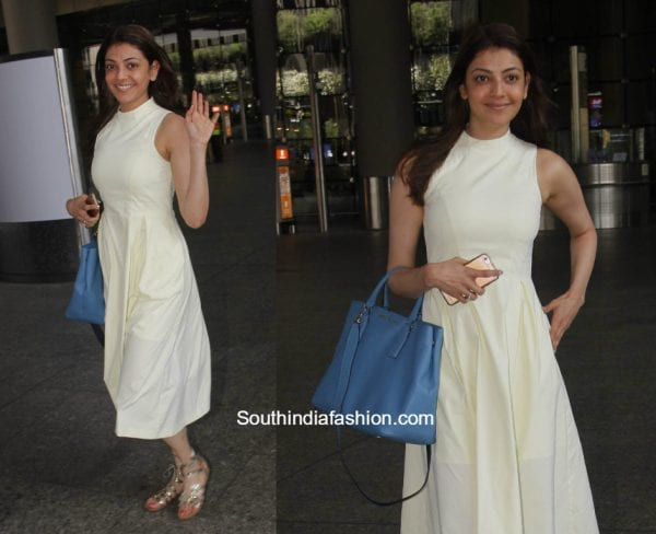 Kajal Aggarwal in a white midi dress at the airport 1 600x488