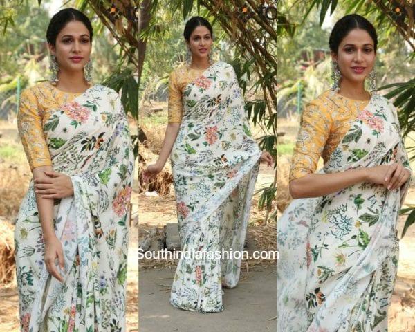 Lavanya Tripathi in a floral printed saree