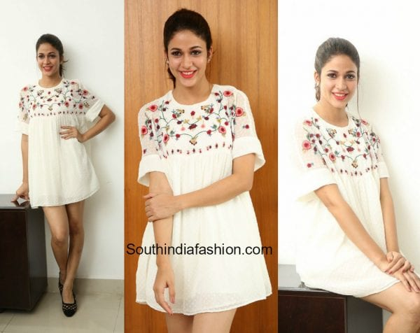 Lavanya Tripathi in a little white dress at Mister Interviews