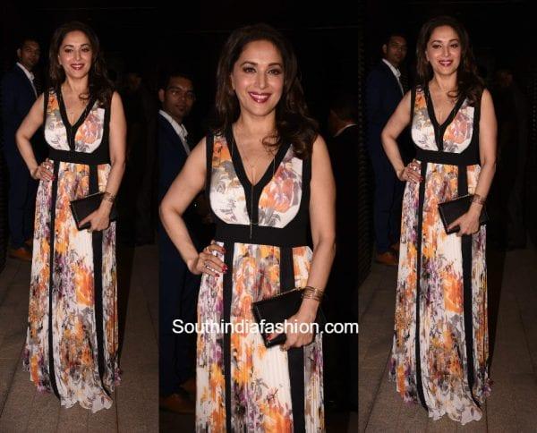 Madhuri Dixit in a maxi dress at Priyankas bash in Mumbai 600x484