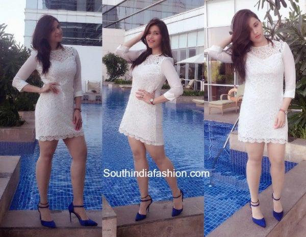 Mannara Chopra Photo Shoot in a white dress