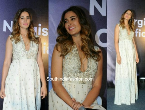 Nargis Fakhri in a white maxi dressby Anita Dongre at her official app launch 1