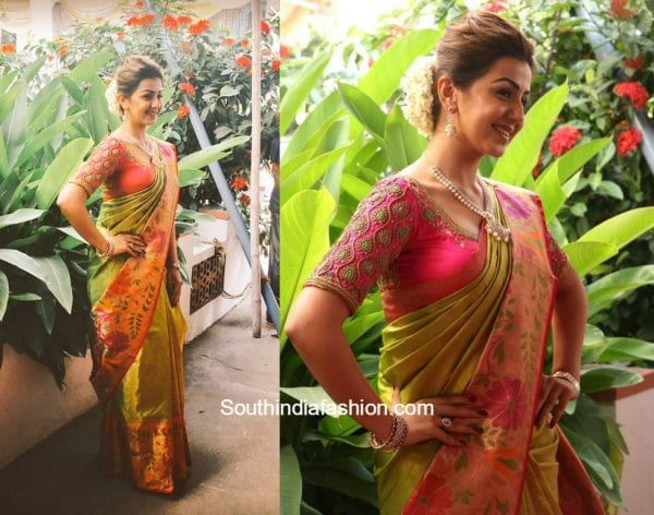 Nikki Galrani in a kanchipuram saree at Neruppuda Audio Launch 1 600x472