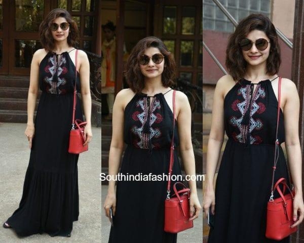 Prachi Desai in a maxi dress at a dubbing studio