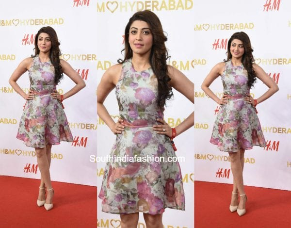 Pranitha Subash in a floral dress at the H&M Launch in Hyderabad