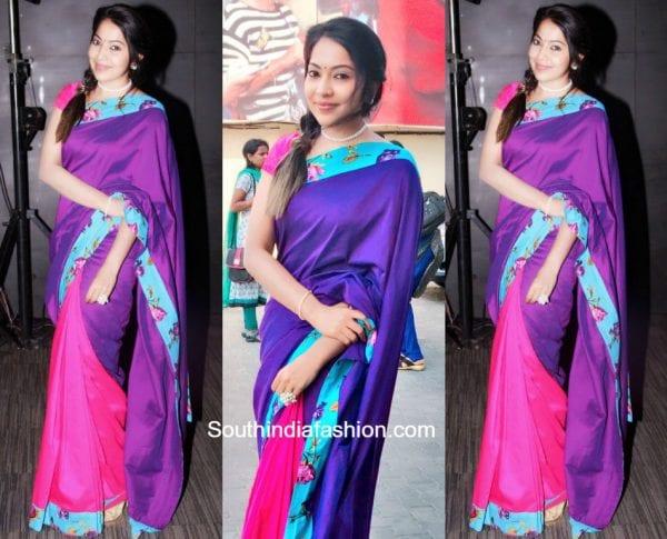 Ramya Subramaniam in a bright cotton saree for Sangili Bingili Kadava Thorae Audio Launch 600x485