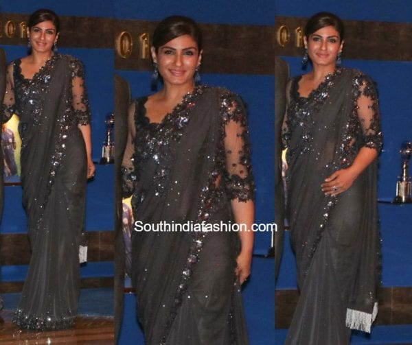 Raveena Tandon in Manish Malhotra at Ambanis Bash 600x503