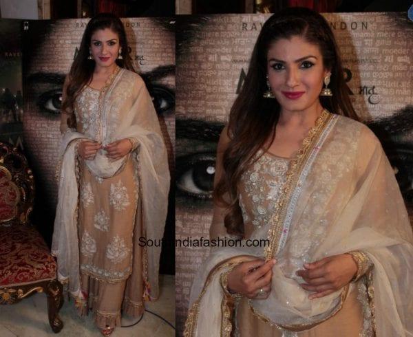 Raveena Tandon in a palazzo salwar at the press conference of the movie Maatr 1