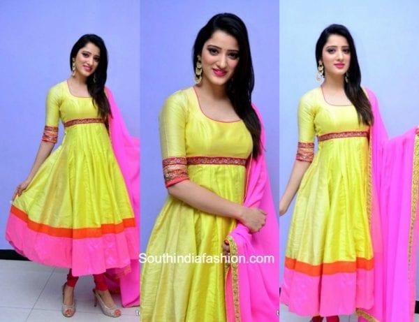 Richa Panai in a yellow anarkali 1 600x461