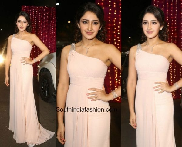 Sayesha Saigal in a pink gown at the Zee Telugu Apsara Awards 2017