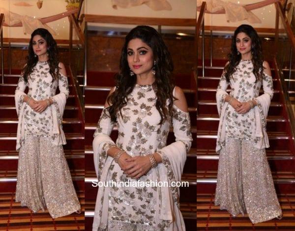 Shamita Shetty in a Manish Malhotra Sharara at Adel Sanas wedding 600x469