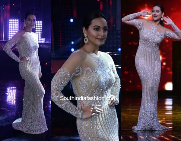Sonakshi Sinha in a shimmering gown on the sets of Nach Baliye 1
