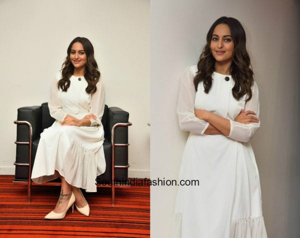 Sonakshi Sinha in a white dress for Noor Interviews