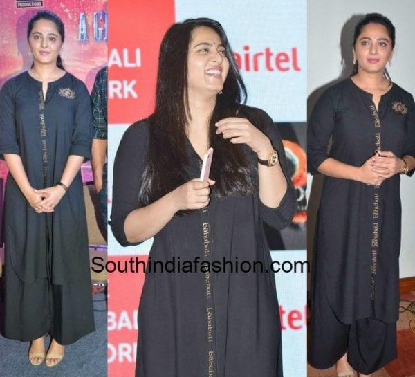 anushka shetty black kurta baahunali promotions 600x545