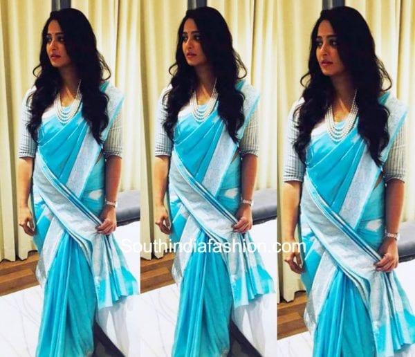 anushka shetty blue banaras saree baahubali 2 promotions dubai 600x516