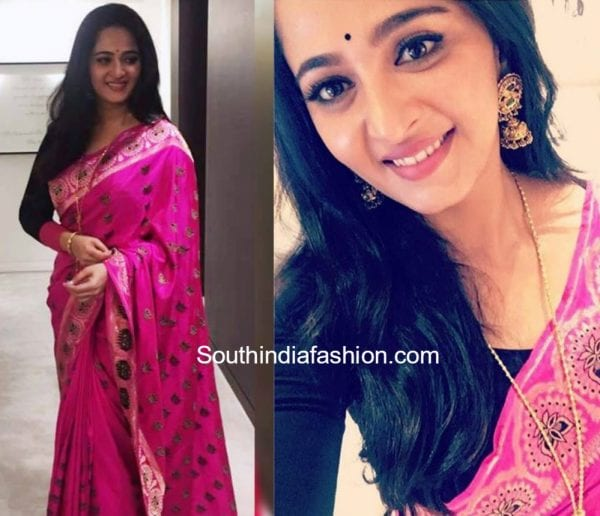 anushka shetty dubai baahubali 2 promotions pink saree shravan kumar 600x516