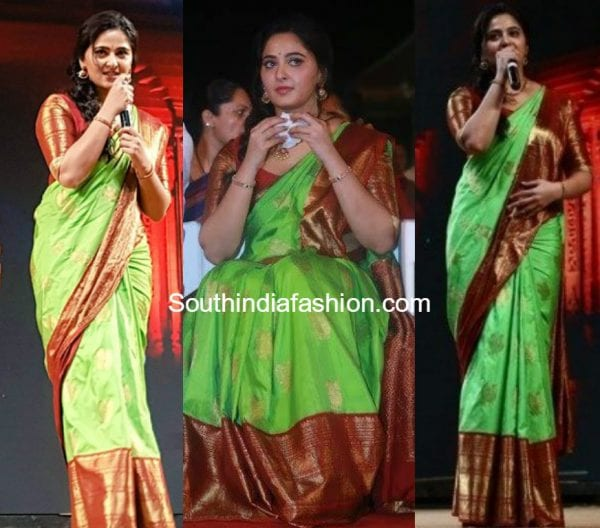 anushka shetty green pattu kanjeevaram saree baahubali 2 tamil audio launch 600x528