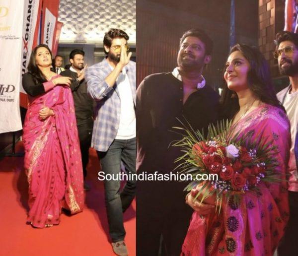 anushka-shetty-pink-banarasi-saree-dubai-promotions