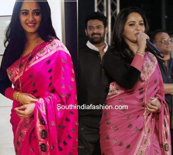anushka shetty pink saree baahubali 2 dubai promotions 600x539